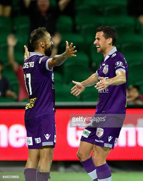 Joel Chianese celebrates with Diego Castro of the Glory after scoring during the round 21 ALeague match between the Perth Glory and Western Sydney...