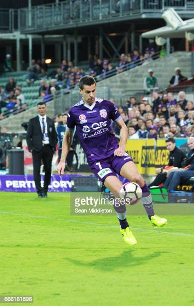 Joel Chianese of the Glory during the round 26 ALeague match between the Perth Glory and Brisbane Roar at nib Stadium on April 8 2017 in Perth...