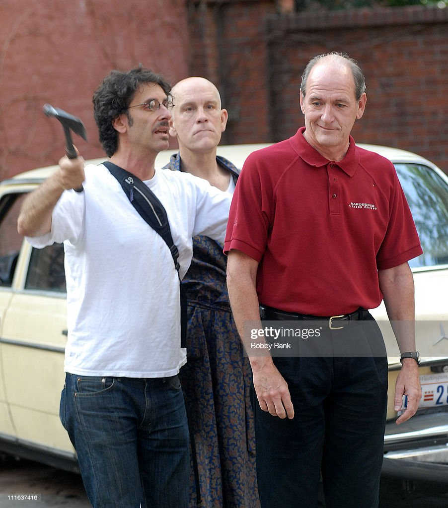 on location for joel coen john malkovich and richard jenkins on location for burn after reading