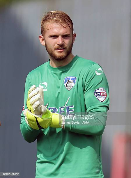 Joel Coleman of Oldham Athletic during the Sky Bet League One match between Oldham Athletic and Shrewsbury Town at Boundary Park on August 22 2015 in...