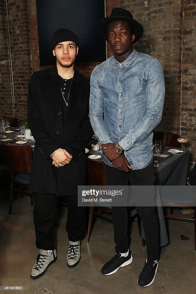 Joel Compass and Jacob Banks attend the Whistles menswear launch dinner on April 30 2014 in London England