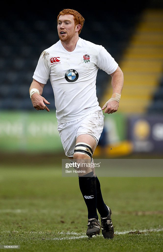 Joel Conlon of England in action during the U20s RBS Six Nations match between England U20 and France U20 at the Sixways Stadium on February 23, 2013 in Worcester, England.