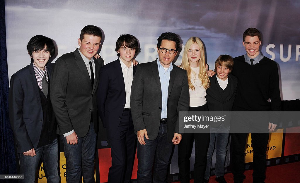 Joel Courtney, Riley Griffiths, Ryan Lee, Elle Fanning, Zach Mills and Gabriel Basso arrive to Paramount Pictures' 'Super 8' Blu-ray and DVD release party at AMPAS Samuel Goldwyn Theater on November 22, 2011 in Beverly Hills, California.