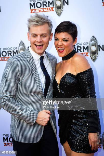 Joel Creasey and Em Rusciano arrives ahead of The Book of Mormon opening night at Princess Theatre on February 4 2017 in Melbourne Australia