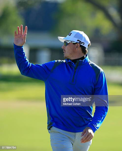 Joel Dahmen acknowledges the gallery during the final round of the Chitimacha Louisiana Open presented by NACHER held at Le Triomphe Golf and Country...