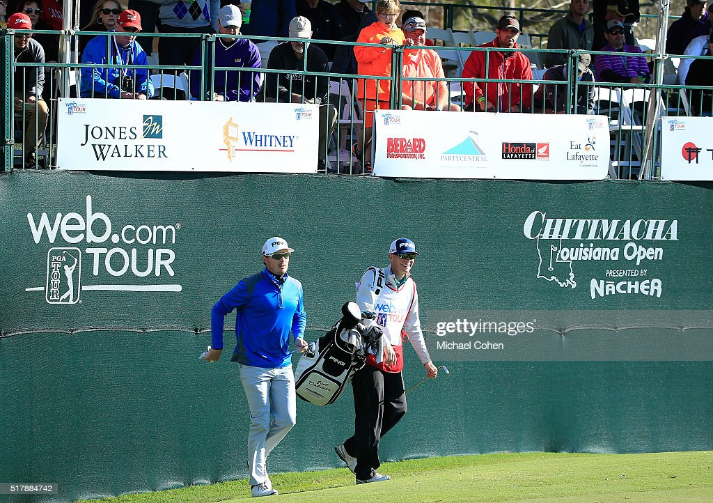 Joel Dahmen on the 18th green during the final round of the Chitimacha Louisiana Open presented by NACHER held at Le Triomphe Golf and Country Club...