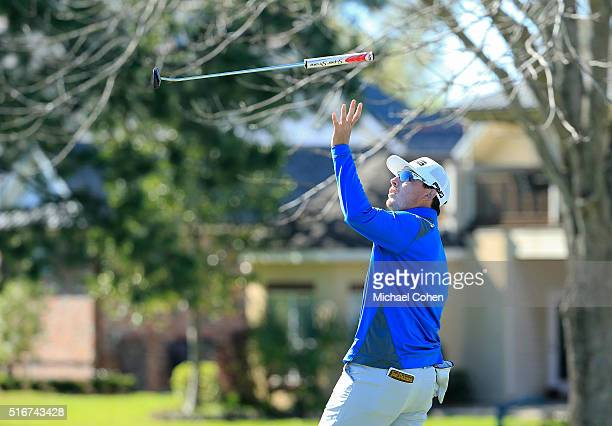 Joel Dahmen reacts to making his birdie on the 15th green by flipping his putter in the air during the final round of the Chitimacha Louisiana Open...