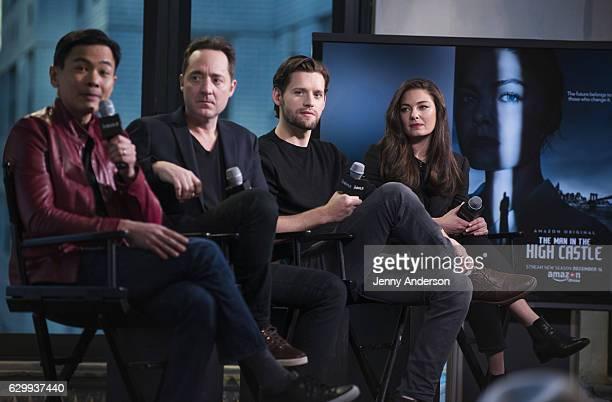 Joel de la Fuente Brennan Brown Luke Kleintank and Alexa Davalos attend AOL Build Series to discuss 'The Man In The High Castle' at AOL HQ on...
