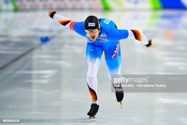 Joel Dufter of Germany competes in the men's 1000 meter final during day 3 of the ISU World Cup Speed Skating event on December 10 2017 in Salt Lake...