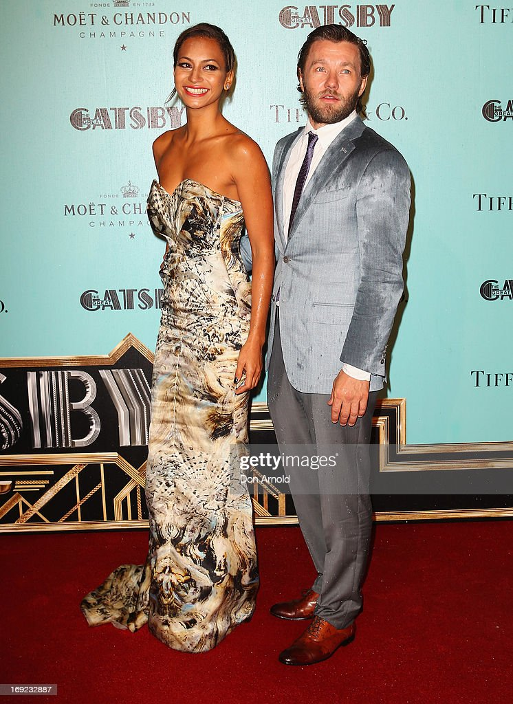 Joel Edgerton and Alexis Blake arrive for the Sydney premiere of 'The Great Gatsby' at The Entertainment Quarter on May 22, 2013 in Sydney, Australia.