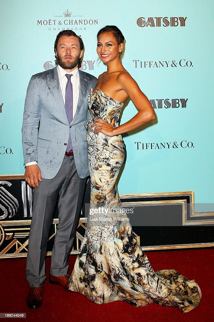 Joel Edgerton and Alexis Blake attend the 'Great Gatsby' Australian premiere at Moore Park on May 22, 2013 in Sydney, Australia.