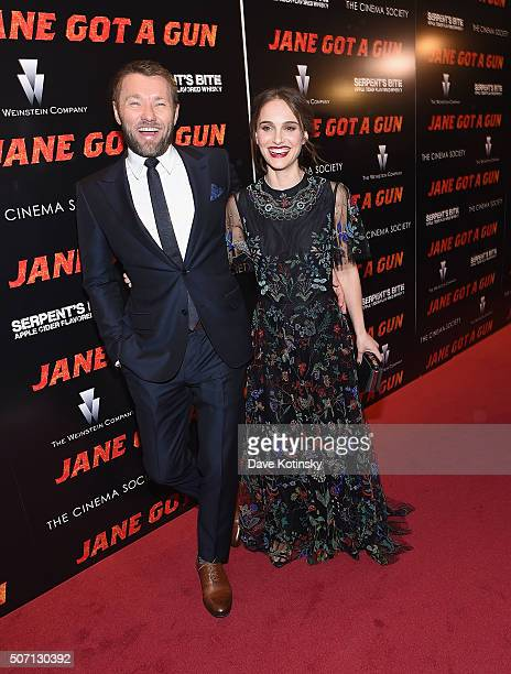 Joel Edgerton and Natalie Portman arrive at the the New York premiere of 'Jane Got a Gun' at The Museum of Modern Art on January 27 2016 in New York...