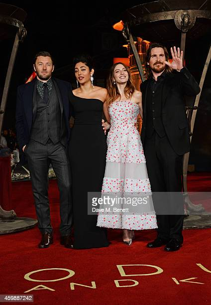 Joel Edgerton Golshifteh Farahani Maria Valverde and Christian Bale attend the World Premiere of 'Exodus Gods and Kings' at Odeon Leicester Square on...
