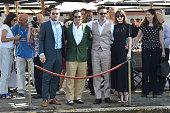 Joel Edgerton Johnny Depp Scott Cooper Dakota Johnson are seen at St Regis Venice San Clemente Palace during the 72nd Venice Film Festival on...
