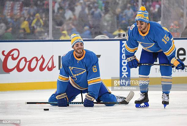 Joel Edmundson and Robby Fabbri of the St Louis Blues warm up prior to the 2017 Bridgestone NHL Winter Classic against the Chicago Blackhawks at...