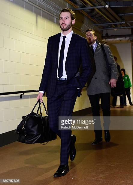 Joel Edmundson left and Jake Allen of the St Louis Blues arrive for the 2017 Bridgestone NHL Winter Classic at Busch Stadium on January 2 2017 in St...
