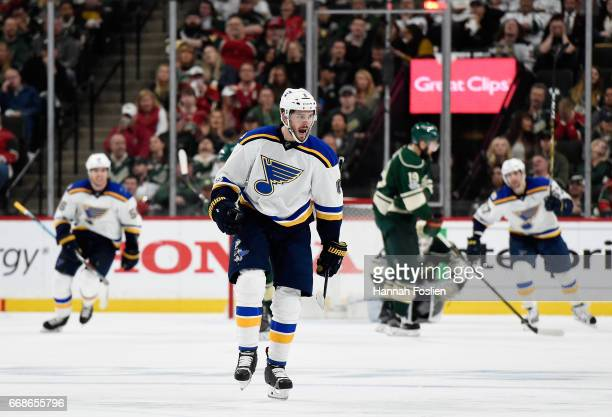 Joel Edmundson of the St Louis Blues celebrates scoring a goal against the Minnesota Wild during the second period in Game Two of the Western...