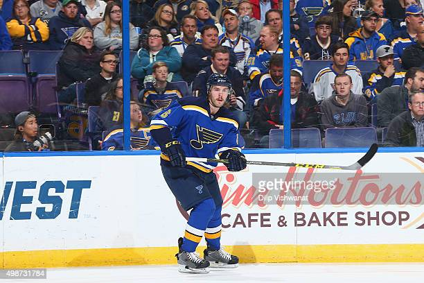 Joel Edmundson of the St Louis Blues skates against the Buffalo Sabres at the Scottrade Center on November 19 2015 in St Louis Missouri