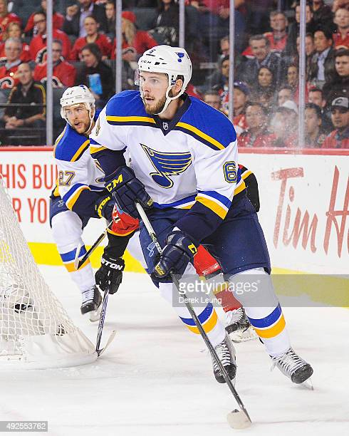 Joel Edmundson of the St Louis Blues skates against the Calgary Flames at Scotiabank Saddledome on October 13 2015 in Calgary Alberta Canada