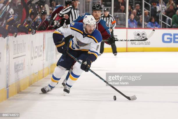 Joel Edmundson of the St Louis Blues skates against the Colorado Avalanche at the Pepsi Center on March 21 2017 in Denver Colorado