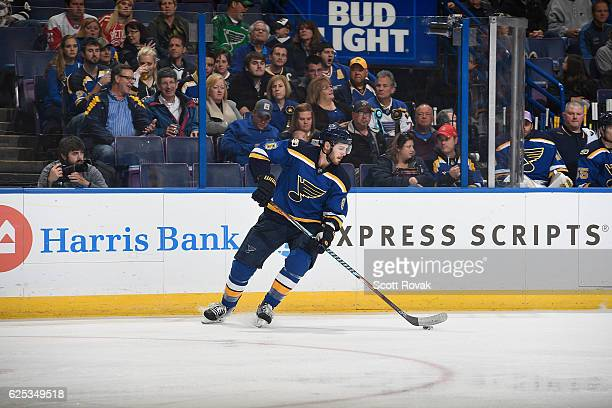 Joel Edmundson of the St Louis Blues skates against the Detroit Red Wings on October 27 2016 at Scottrade Center in St Louis Missouri