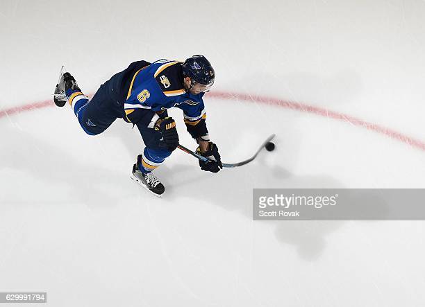 Joel Edmundson of the St Louis Blues takes a shot during warmups prior to a game against the New Jersey Devils on December 15 2016 at Scottrade...