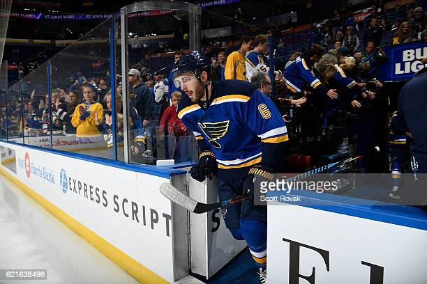 Joel Edmundson of the St Louis Blues takes the ice prior to playing against the Calgary Flames on October 25 2016 at Scottrade Center in St Louis...