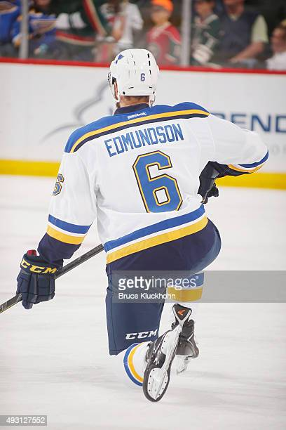 Joel Edmundson of the St Louis Blues warms up prior to the game against the Minnesota Wild on October 10 2015 at the Xcel Energy Center in St Paul...
