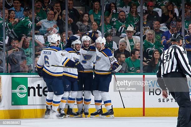 Joel Edmundson Robby Fabbri Troy Brouwer and Paul Stastny of the St Louis Blues celebrate a goal against the Dallas Stars in Game Five of the Western...