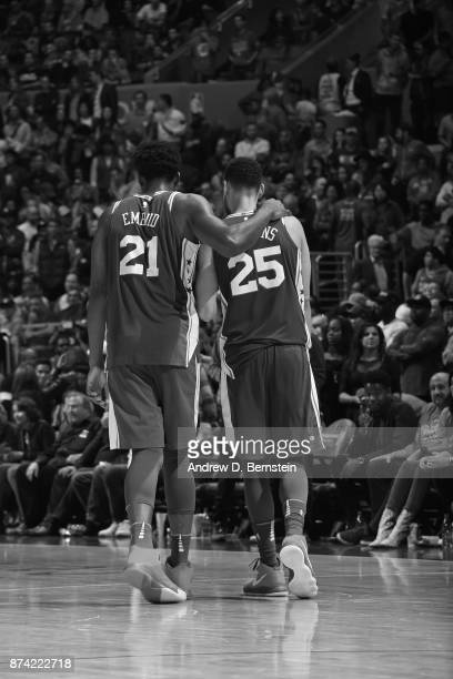 Joel Embiid and Ben Simmons of the Philadelphia 76ers walks up court together during the game against the LA Clippers on November 13 2017 at STAPLES...