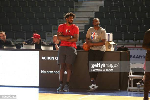 Joel Embiid and Luol Deng of Team Africa at practice for the 2017 Africa Game as part of the Basketball Without Borders Africa at the Ticketpro Dome...