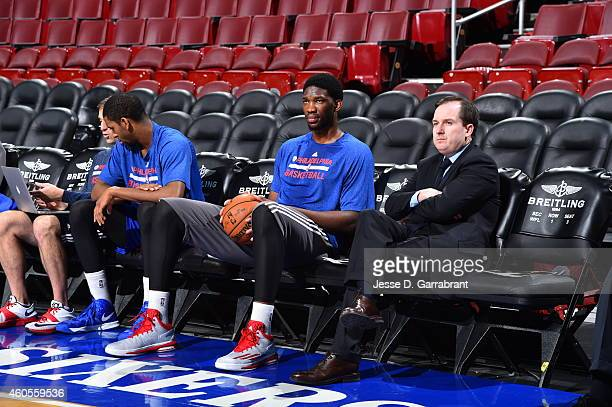 Joel Embiid and Sam Hinkie General Manager of the Philadelphia 76ers before the game against the Boston Celtics on December 15 2014 at Wells Fargo...