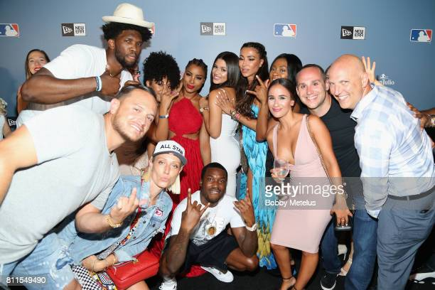 Joel Embiid Meek Mill and Metisha attend the New Era Cap MLB AllStar Party 2017 at Beachcraft at 1 Hotel South Beach on July 9 2017 in Miami Beach...