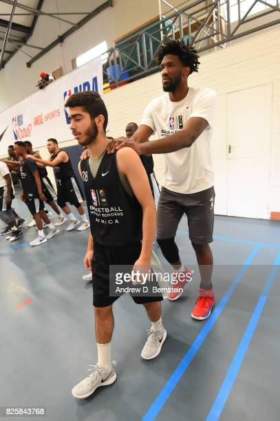 Joel Embiid of Team Africa goes through a leadership clinic during the Basketball Without Borders Africa at the American International School of...