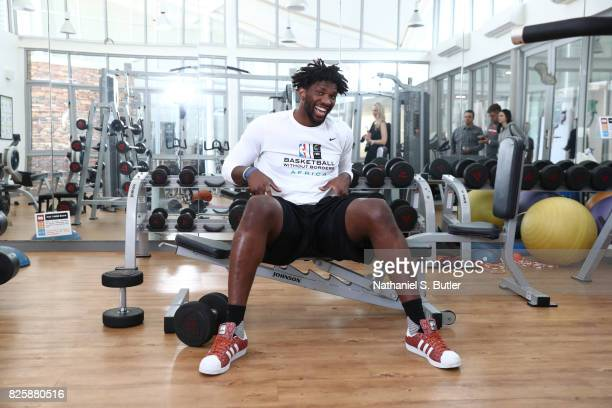 Joel Embiid of Team Africa poses for a portrait as part of the Basketball Without Boarders Africa at the American International School of...