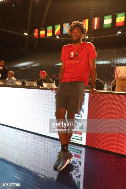 Joel Embiid of Team Africa practices for the 2017 Africa Game as part of the Basketball Without Borders Africa at the Ticketpro Dome on August 4 2017...