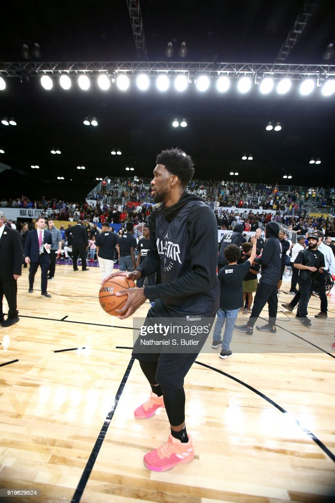 Joel Embiid #21 of Team Stephen participates in the NBA All-Star practice as part of the 2018 NBA All-Star Weekend on February 17, 2018 at the Verizon Up Arena at the LACC in Los Angeles, California.