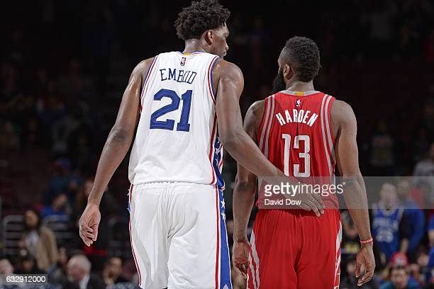 Joel Embiid of the Philadelphia 76ers and James Harden of the Houston Rockets have a conversation during the game at Wells Fargo Center on January 27...