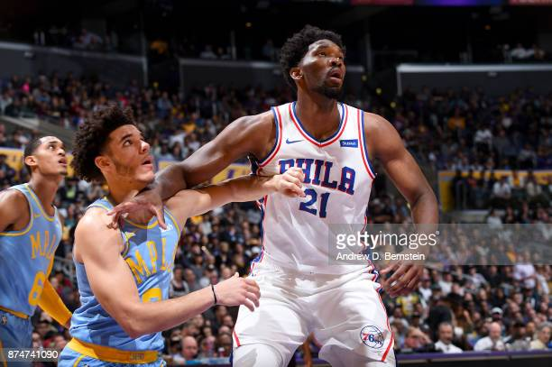 Joel Embiid of the Philadelphia 76ers boxes out against the Los Angeles Lakers on November 15 2017 at STAPLES Center in Los Angeles California NOTE...