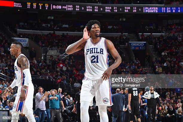 Joel Embiid of the Philadelphia 76ers calls to the crowd against Minnesota Timberwolves during game at the Wells Fargo Center on January 3 2017 in...