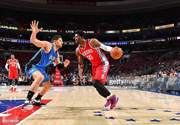 Joel Embiid of the Philadelphia 76ers drives baseline against Orlando Magic during a game at the Wells Fargo Center on November 1 2016 in...