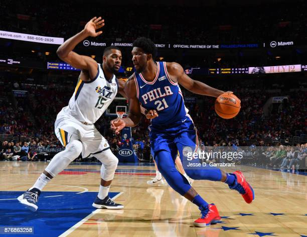 Joel Embiid of the Philadelphia 76ers drives to the basket against the Utah Jazz at Wells Fargo Center on November 20 2017 in Philadelphia...