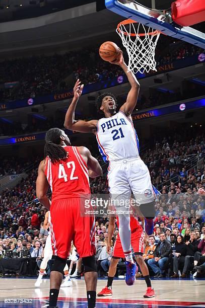 Joel Embiid of the Philadelphia 76ers dunks the ball against the Houston Rockets at Wells Fargo Center on January 27 2017 in Philadelphia...