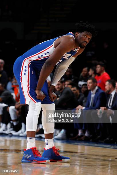Joel Embiid of the Philadelphia 76ers during the game against the Brooklyn Nets during the preseason game on October 11 2017 at Nassau Veterans...