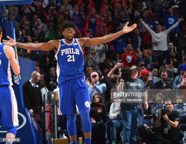 Joel Embiid of the Philadelphia 76ers gets pumped up after a play against the Portland Trail Blazers at Wells Fargo Center on November 22 2017 in...