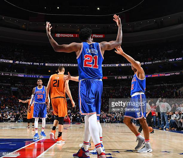 Joel Embiid of the Philadelphia 76ers gets the crowd pumped up against the Phoenix Suns during a game at the Wells Fargo Center on November 19 2016...