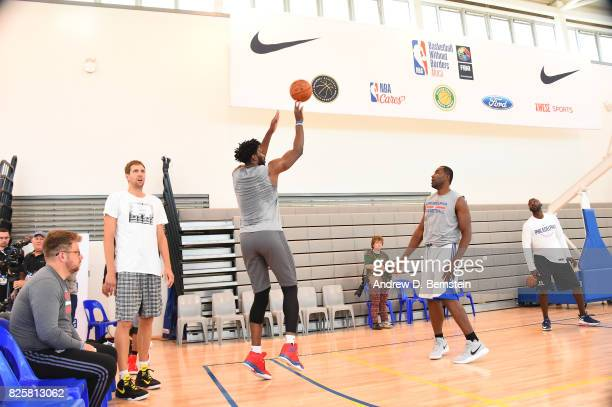 Joel Embiid of the Philadelphia 76ers goes through a workout as part of Basketball Without Borders Africa at the American International School of...