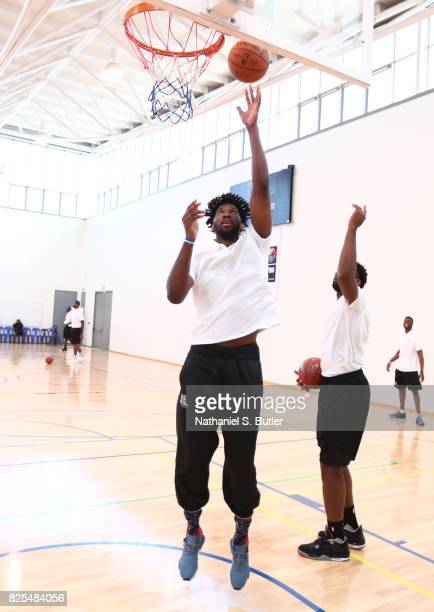 Joel Embiid of the Philadelphia 76ers goes through some drills during the Basketball Without Borders Africa at the American International School of...