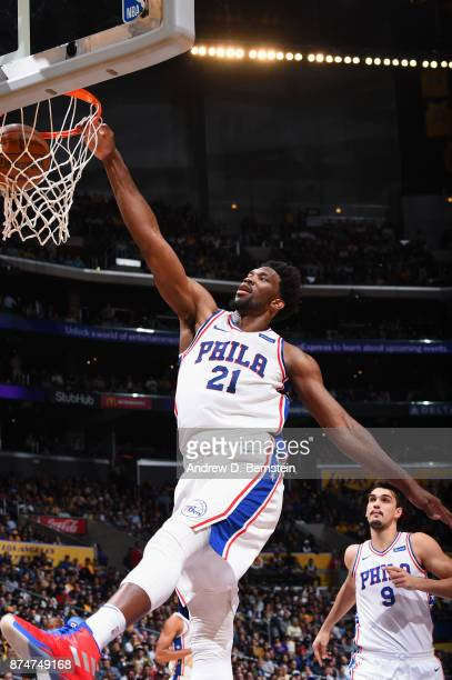Joel Embiid of the Philadelphia 76ers goes to the basket against the Los Angeles Lakers on November 15 2017 at STAPLES Center in Los Angeles...
