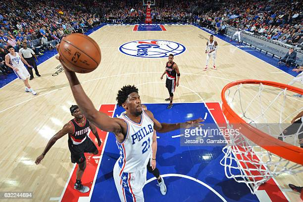 Joel Embiid of the Philadelphia 76ers goes up for a dunk during a game against the Portland Trail Blazers on January 20 2017 at the Wells Fargo...